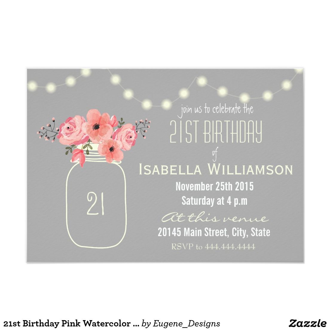 21st Birthday Pink Watercolor Flowers & Mason Jar Card | Pink ...