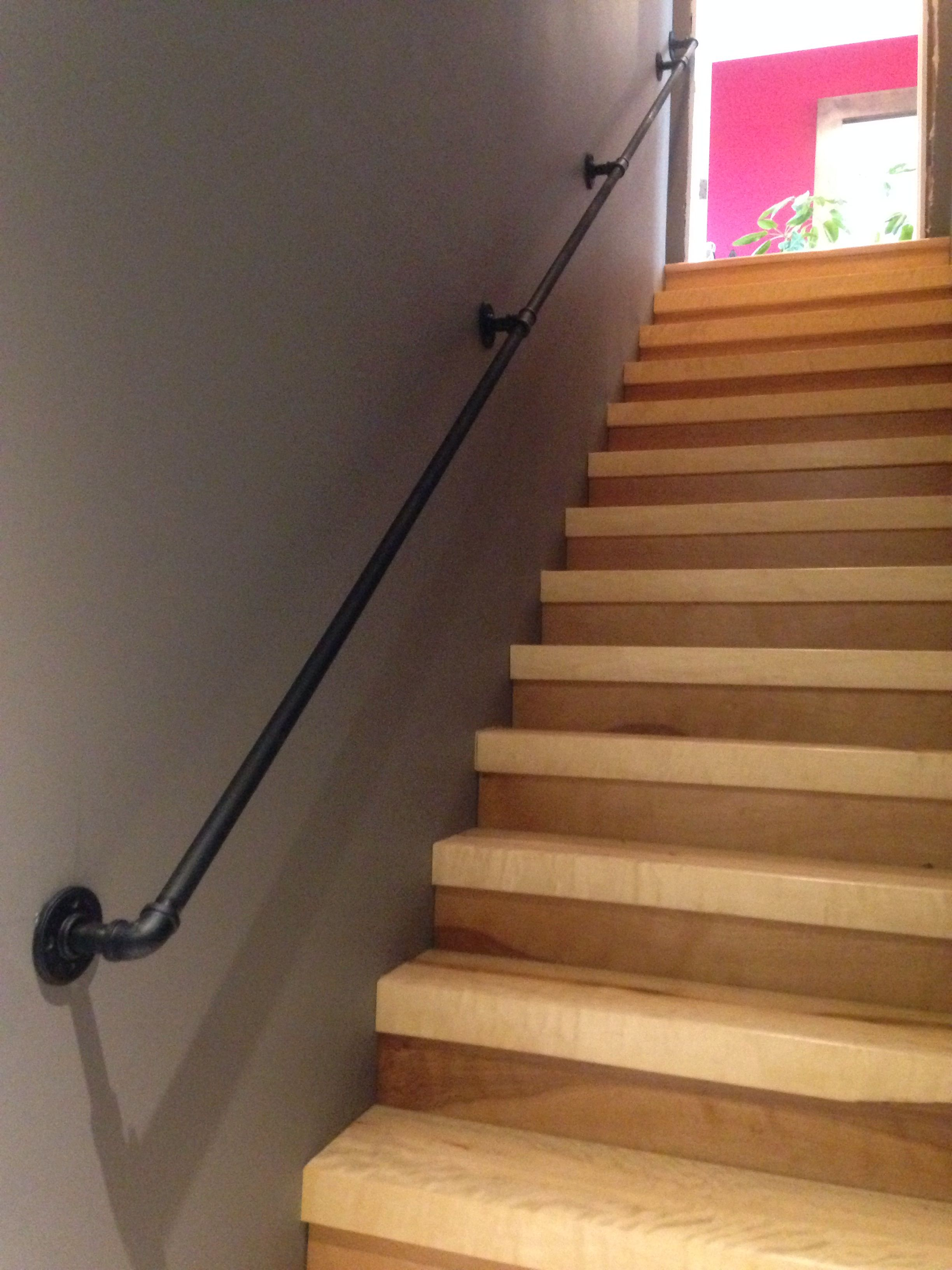 Steel Handrail 3/4 inch. Bought pipe and all hardware at