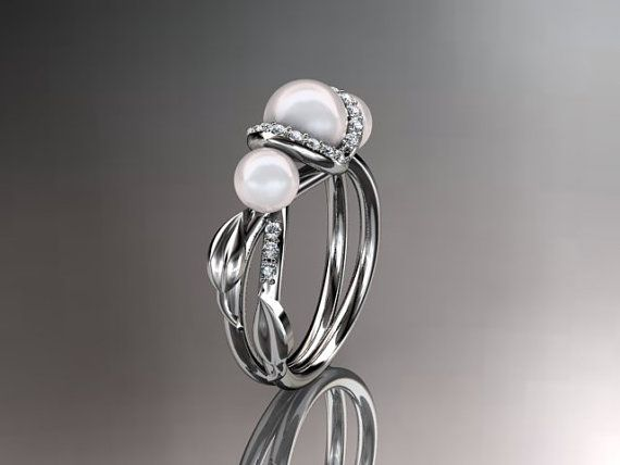 Three Pearl Engagement Ring Unique Pearl Ring Diamond Pearl