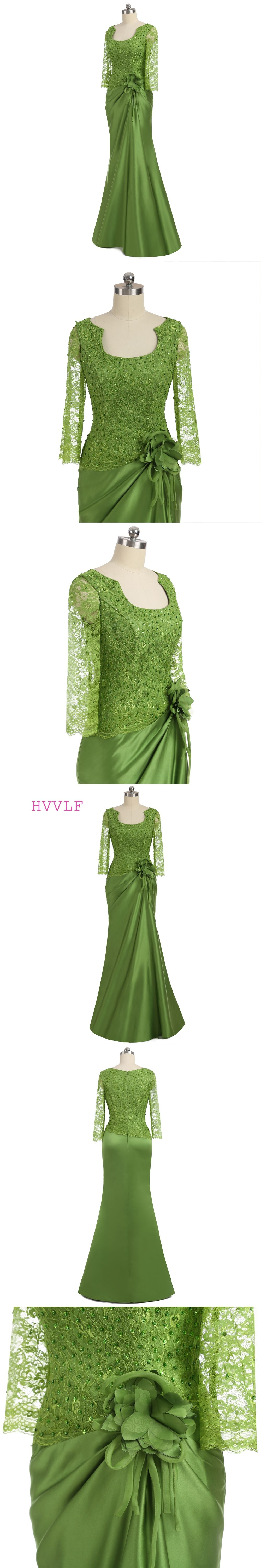 Mother dresses for fall wedding  Green  Mother Of The Bride Dresses Mermaid  Sleeves Lace