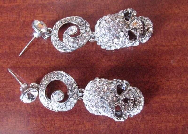 Crystal Skull Punk Gothic Earring Jewel Bridal Wedding Dangle Goth Pagan Stud Uk