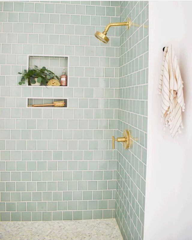 Photo of I'm intrigued by this tile color, but not necessarily a fan of the gold fixtur…