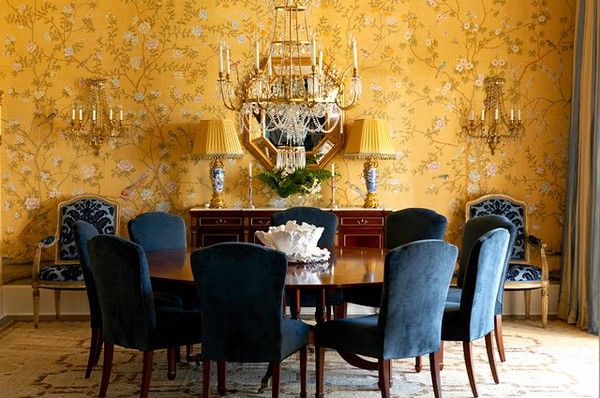 Yellow Chinoiserie Wallpaper With Blue Chairs Stunning