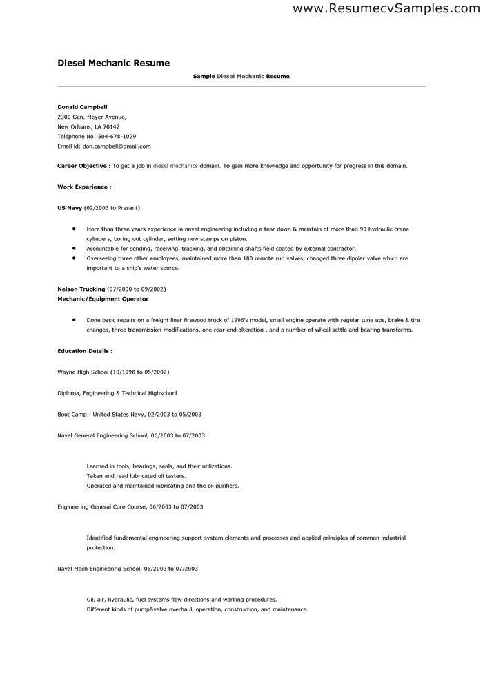 Resume Examples Diesel Mechanic In 2020 Resume Examples Resume Diesel Mechanics