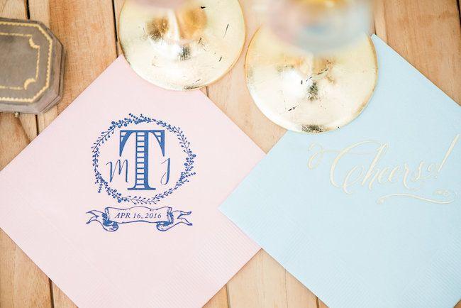 Wedding Favors Wedding Napkins Wedding Napkins V Monogram Napkins Cocktail Napkins Foil Personalized Napkins Wedding Monogram