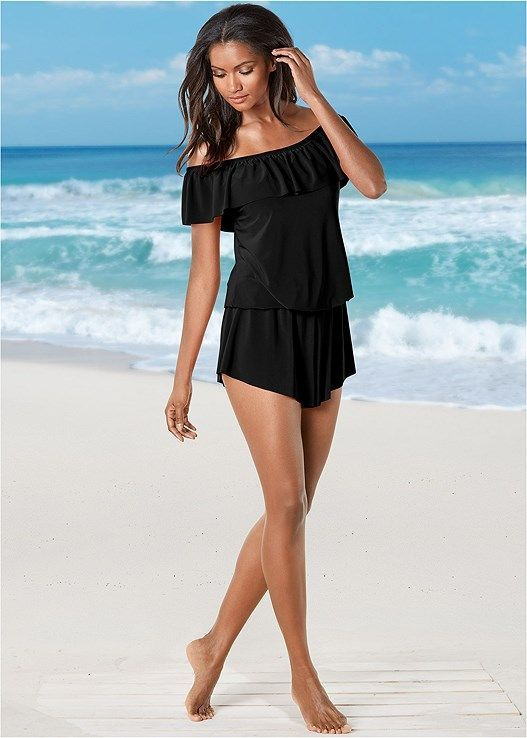 1ad2f78f8ff7f Venus Women's Ruffle Swim Romper One-Piece Swimsuit - Black, Size 14