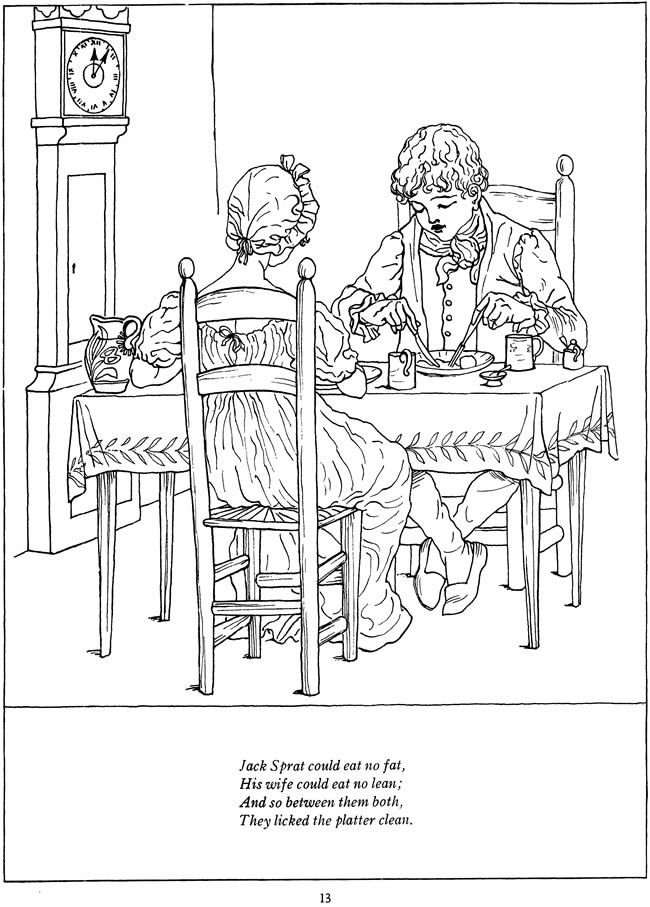 jack sprat nursery rhyme coloring page - kate greenaway 39 s mother goose coloring book dover