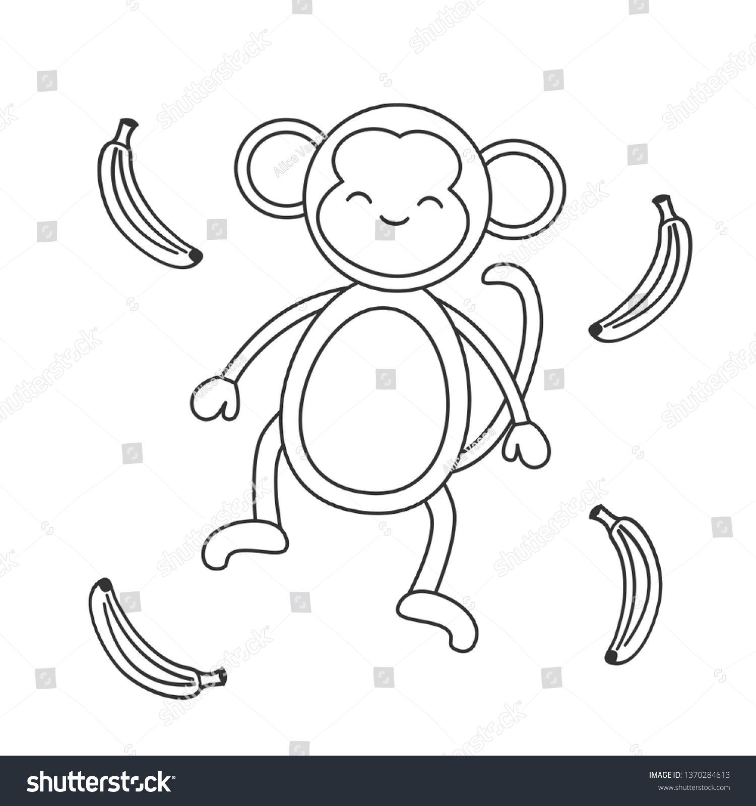 Cute Cartoon Black And White Monkey With Banana Vector Illustration For Coloring Art Ad Sponsored White Monkey Colorful Art Cute Cartoon Black And White