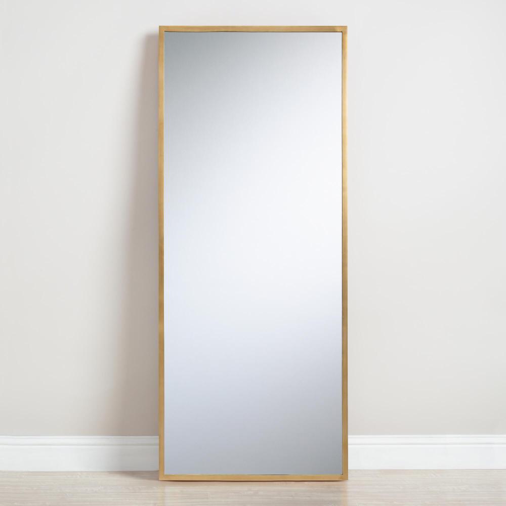 Antique Brass Leaning Full Length Sana Floor Mirror Gold