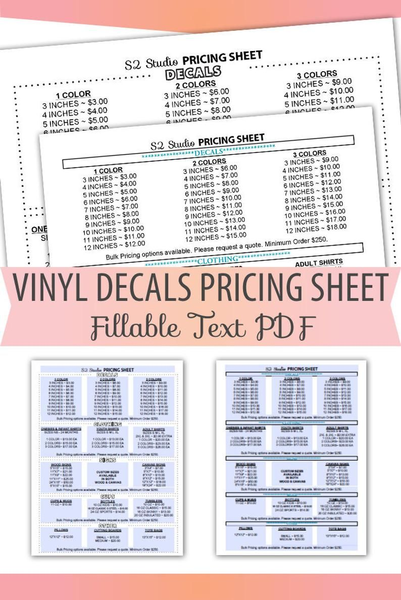 Fillable Editable Text Only Pdf Vinyl Decal Pricing Sheet Etsy In 2020 Cricut Projects Vinyl Cricut Tutorials Vinyl Decals