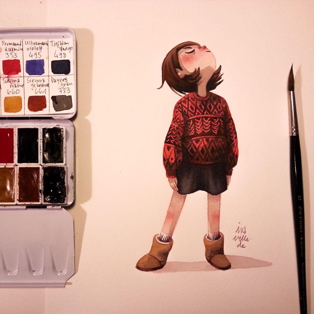 Enjoying The Autumn Sun Watercolor Watercolour Illustration