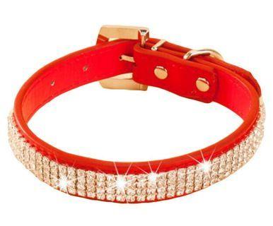 Rhinestone Pet Collars - Dog Leashes - Pet Supplies --Rhinestone Red