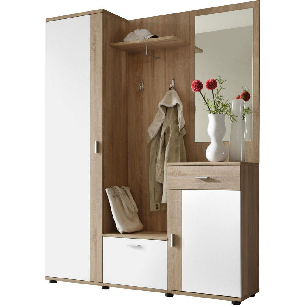 Garderobe Weiss Larchefarben Kompaktgarderoben