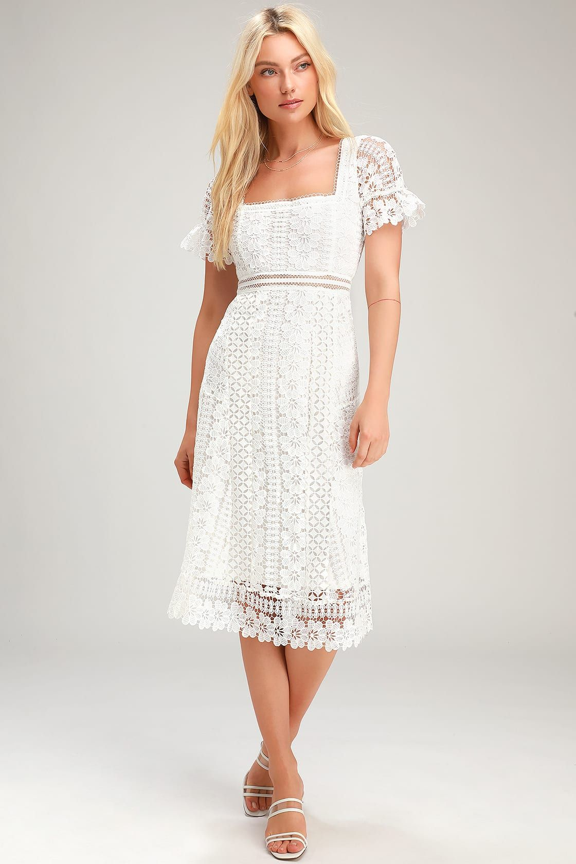 Love To Be Loved White Lace Midi Dress White Lace Midi Dress Cute Lace Dresses Lace White Dress [ 1680 x 1120 Pixel ]