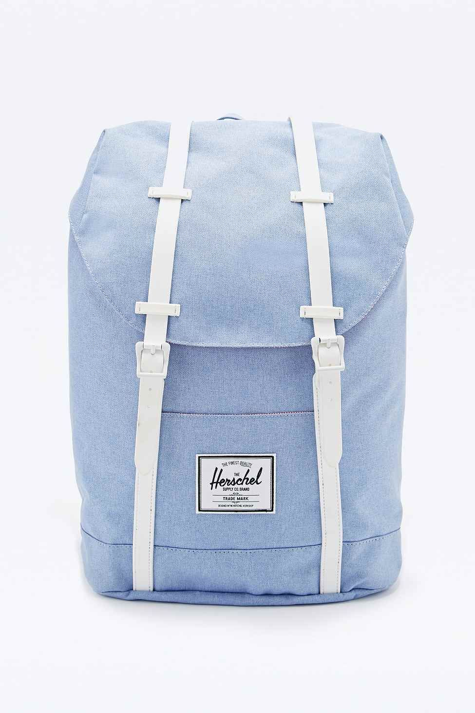 Herschel Supply co. Retreat Chambray Backpack in Blue   Talking ... 74090a540d
