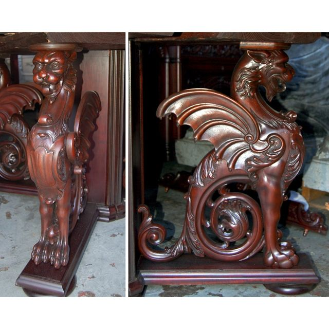 Beau R.J. Horner 16 Pc. Winged Griffin Carved Mahogany Dining Room Set .