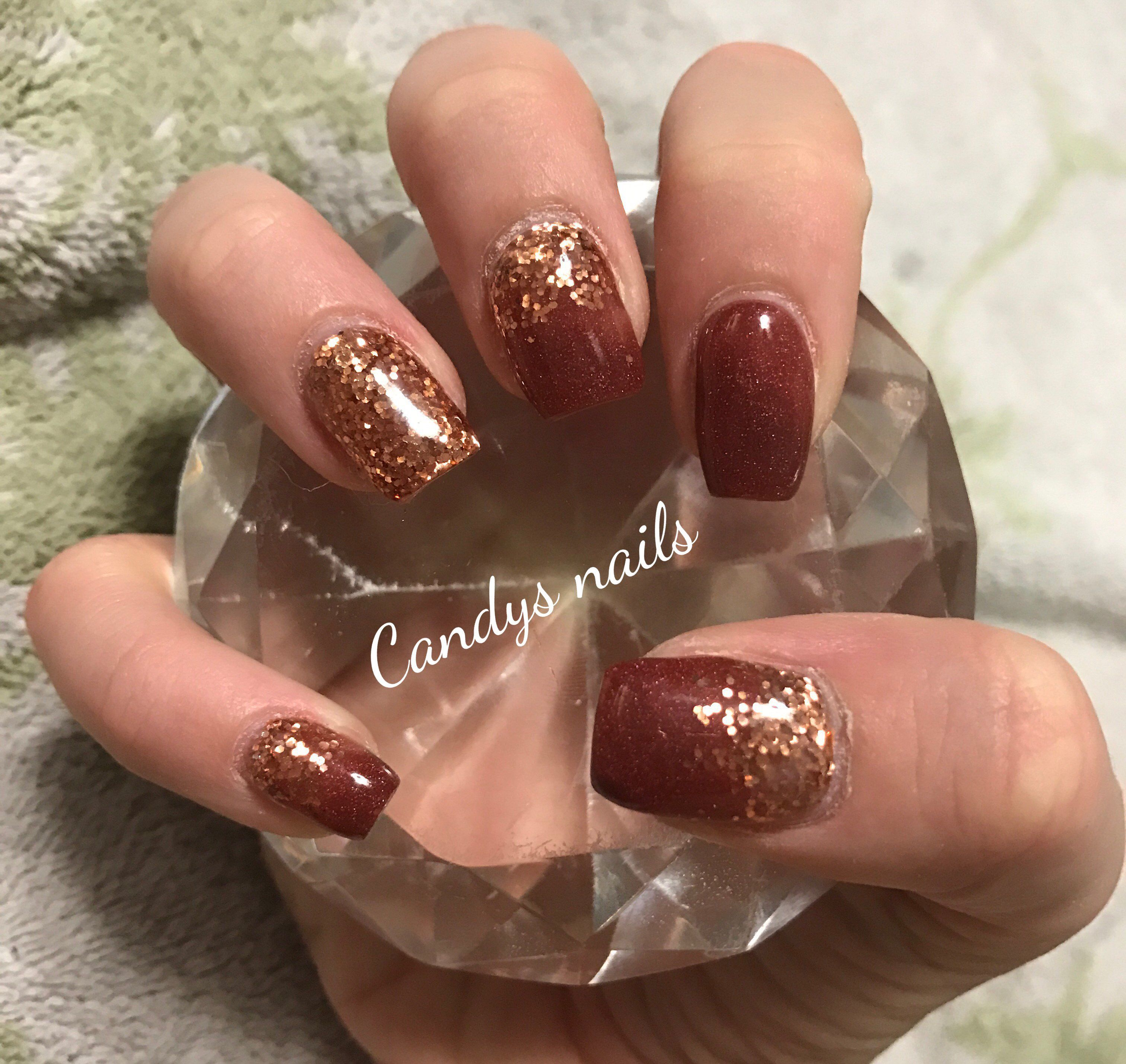 Brown And Copper Gold Design Acrylic Nails Gold Acrylic Nails French Nail Designs Copper Nails