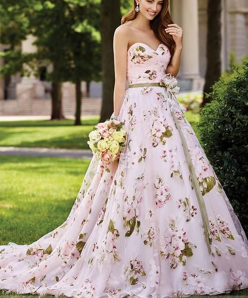 Strapless Organza Floral Print Wedding Gown | Non Traditional ...