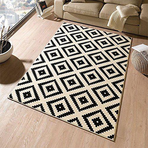 Designer velours teppich raute schwarz creme 102332 for Gunstige teppiche 160x230