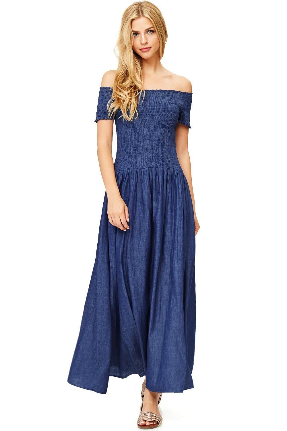 Womanus chambray off shoulder smocked special occasion denim maxi