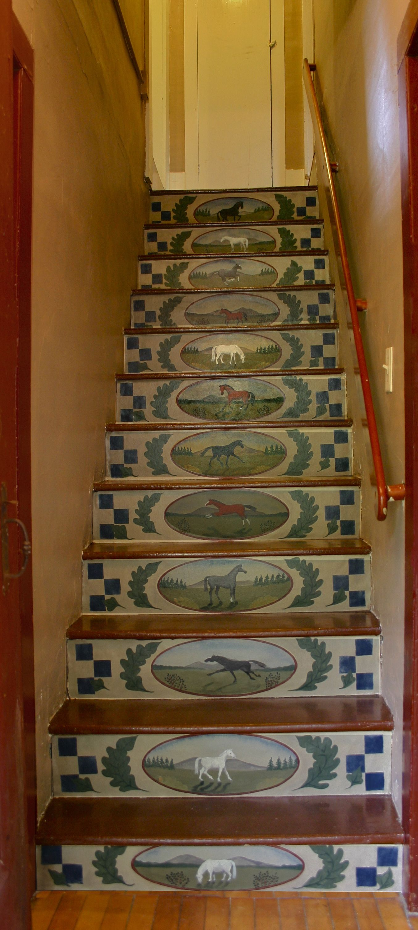 Beautiful Stenciled Stair Risers | Home » Blog » News » Painted Canvas Stair Risers