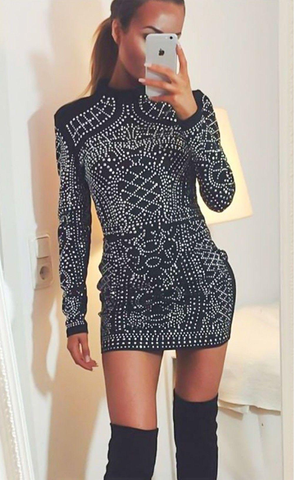 Studded long sleeves dress womenus fashion pinterest dresses