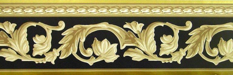 Sunworthy Black, Gold and Tan Leaf Scroll Wallpaper Border
