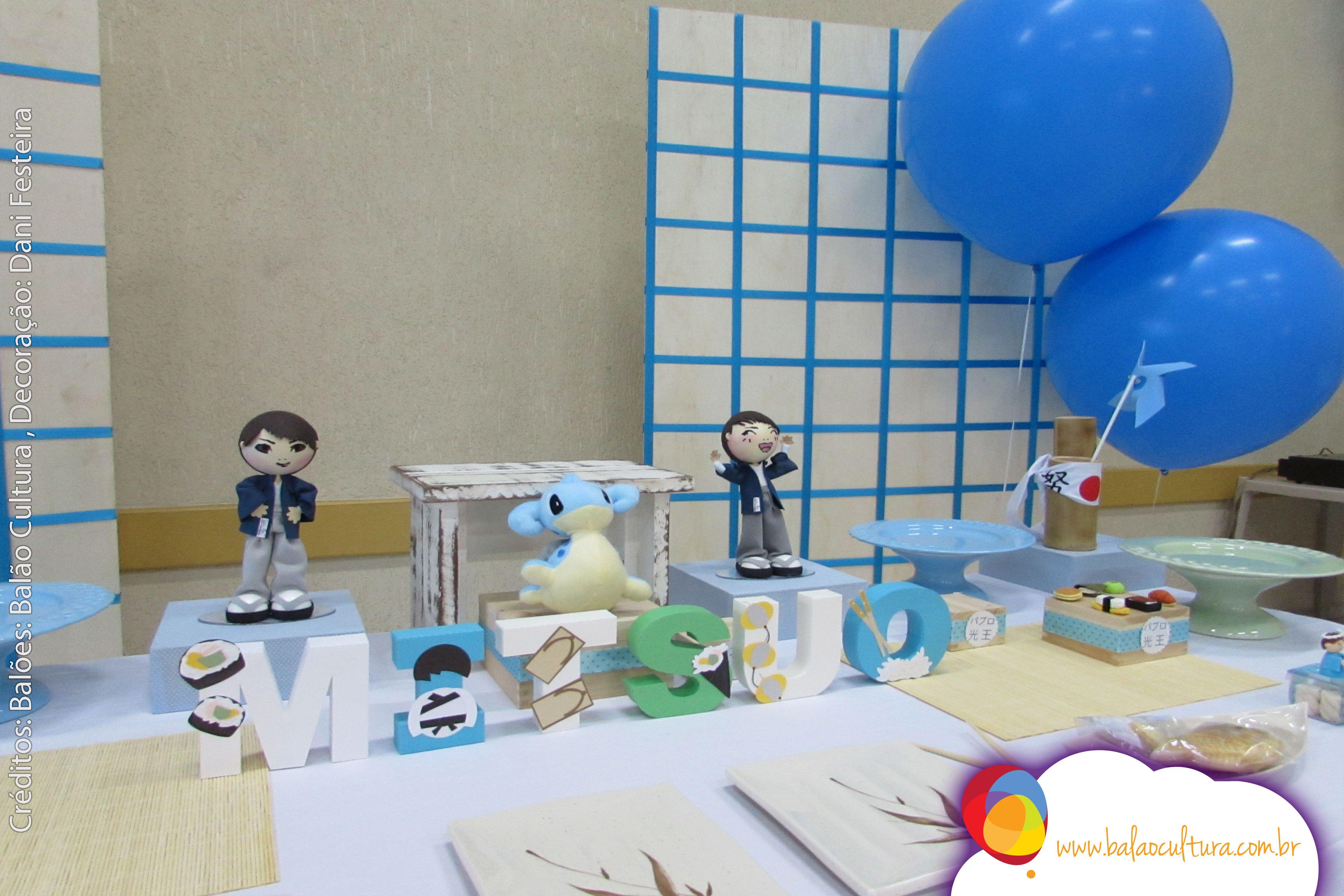 Aniversário de 1 ano do Mitsuo. Balões de 32 polegadas inflado com gás hélio. Créditos: Decoração com balões + Balão: Balão Cultura  Planejamento e decoração: Dani Festeira