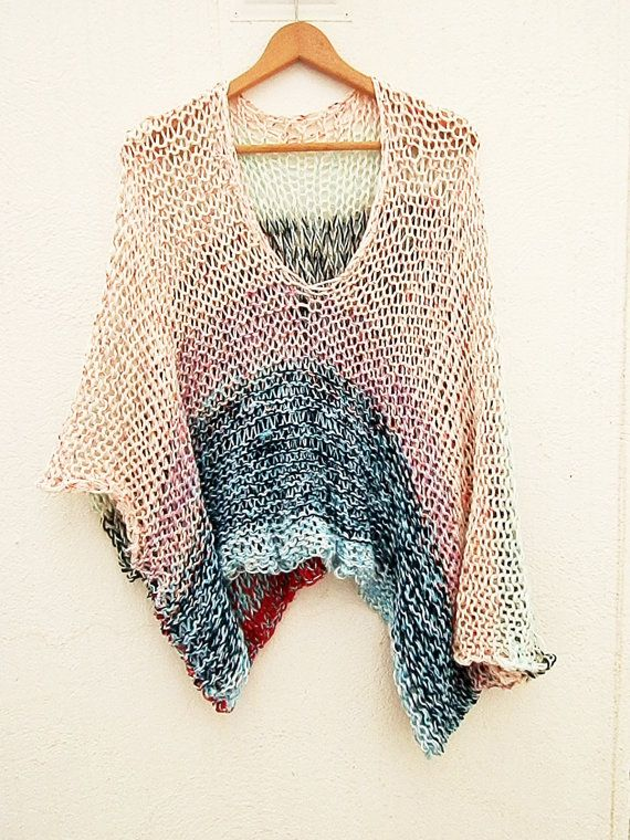 Multicolor stripe knitted sweater& poncho | cape, capelet ...