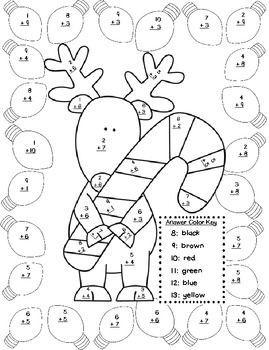 CHRISTMAS ADDITION COLOR BY NUMBER - TeachersPayTeachers.com ...