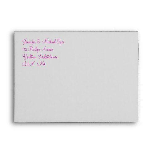Pink Grey Monogram E Wedding Invitation Envelope 1 Invitation