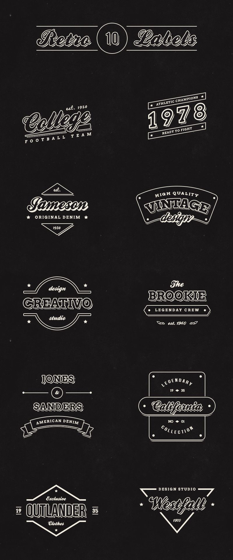 10 great #free vintage retro labels logos for designers http://webdesignledger.com/freebies/10-free-vintage-retro-labels #graphicdesign #webdesign
