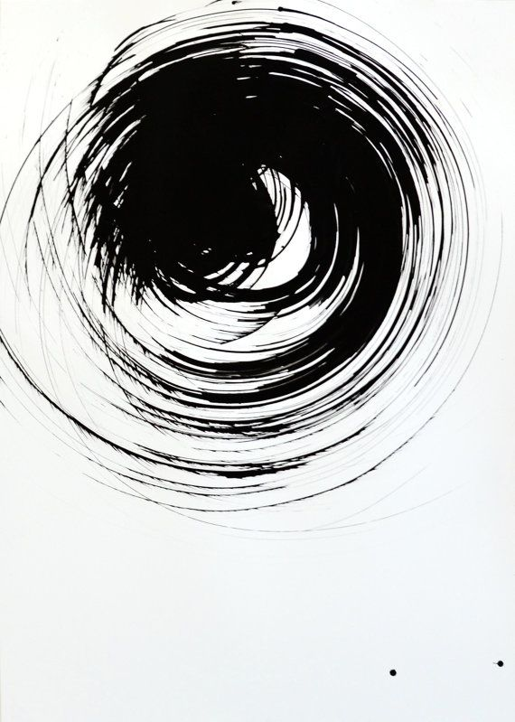 A4 Original Abstract Art Ink Drawing Black And White