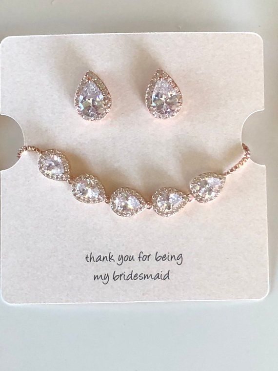 Bridesmaid Jewelry Bracelet And Earrings Set Silver Gold Or
