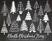Tafel Weihnachtsbaum ClipArt. Hand gezeichnete Kreide-Weihnachtsabbildungen. Wei...