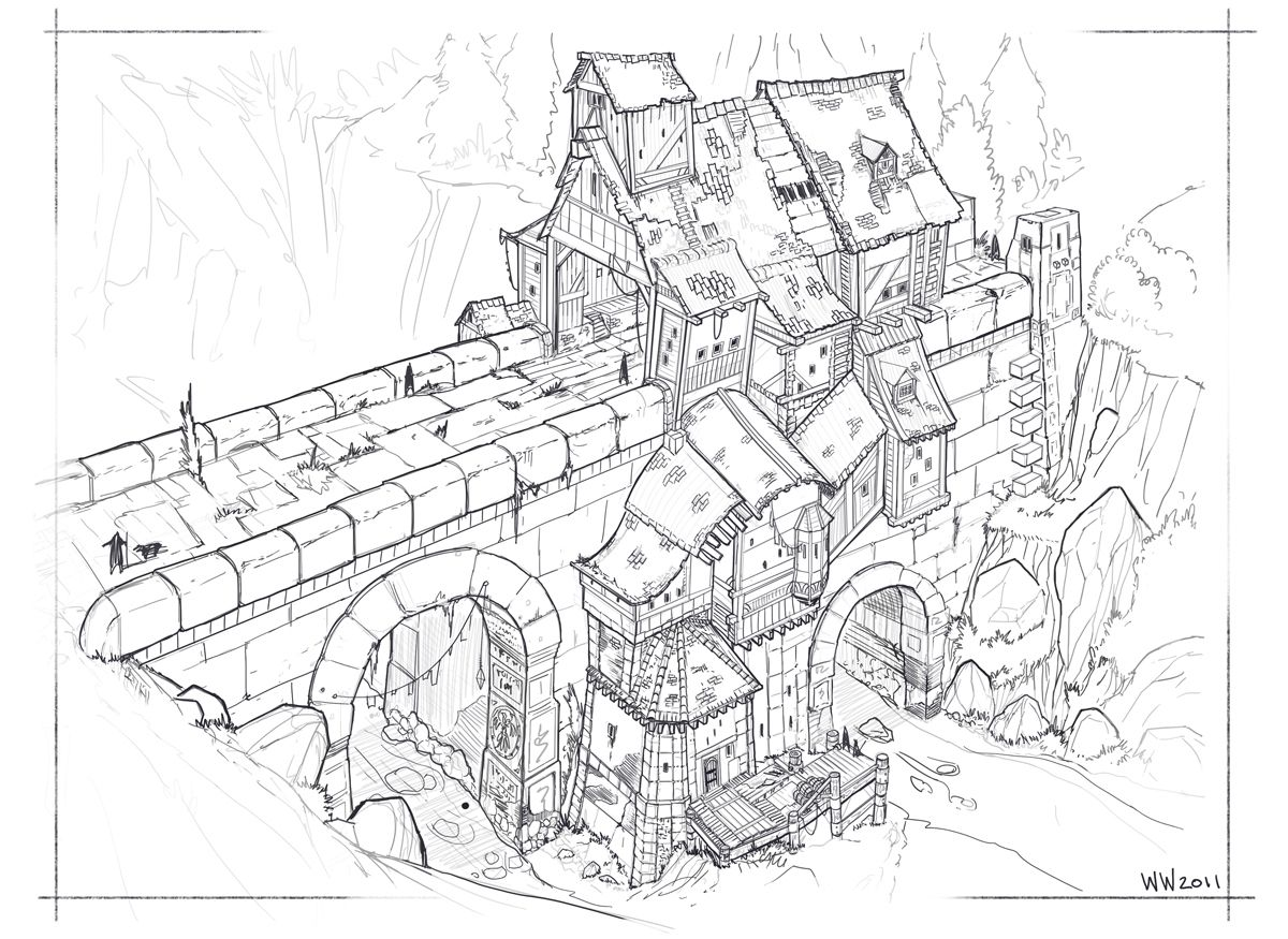 Fantasy bridge sketch  by wwsketch @ DeviantArt