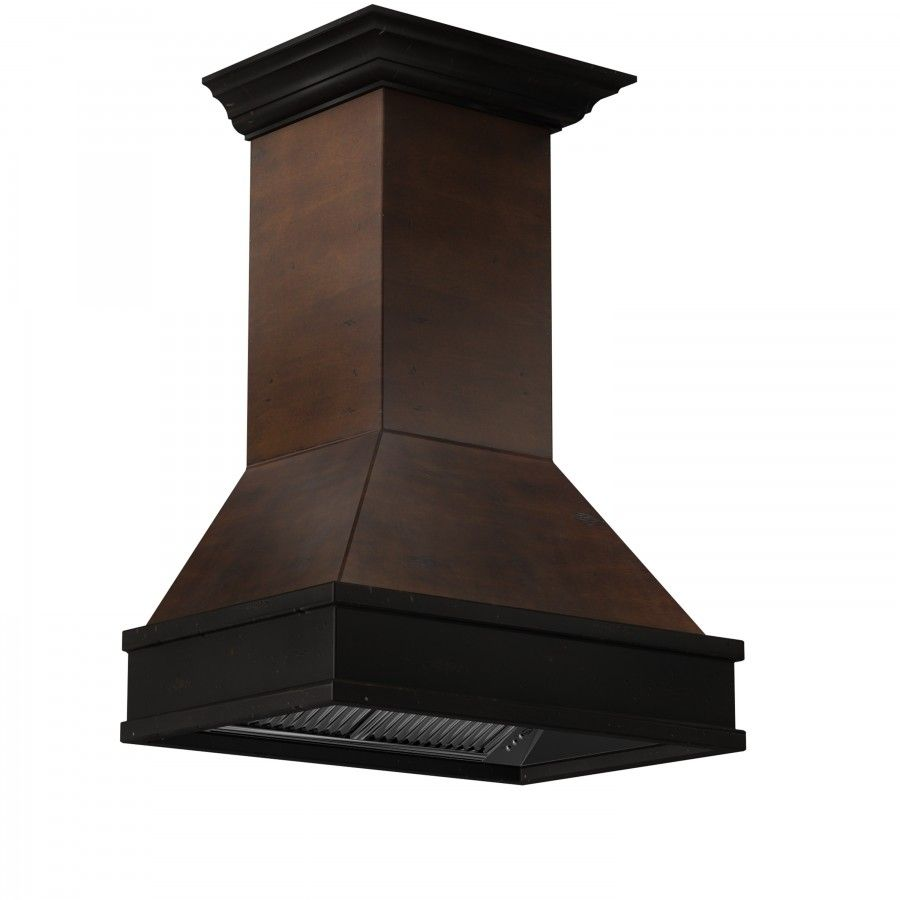 High Performance 900 CFM/4-Speed Motor, Solid Wood Exterior with Distressed Finish, Antigua Body & Chimney, Hamilton Band & Crown Molding, Stainless Steel Insert, Directional LED Lighting, Dishwasher-safe Filters, Easy Installation