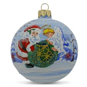 """Decorating Christmas Balls Glass 325"""" Angel Helping Santa With Christmas Gifts Glass Ball"""