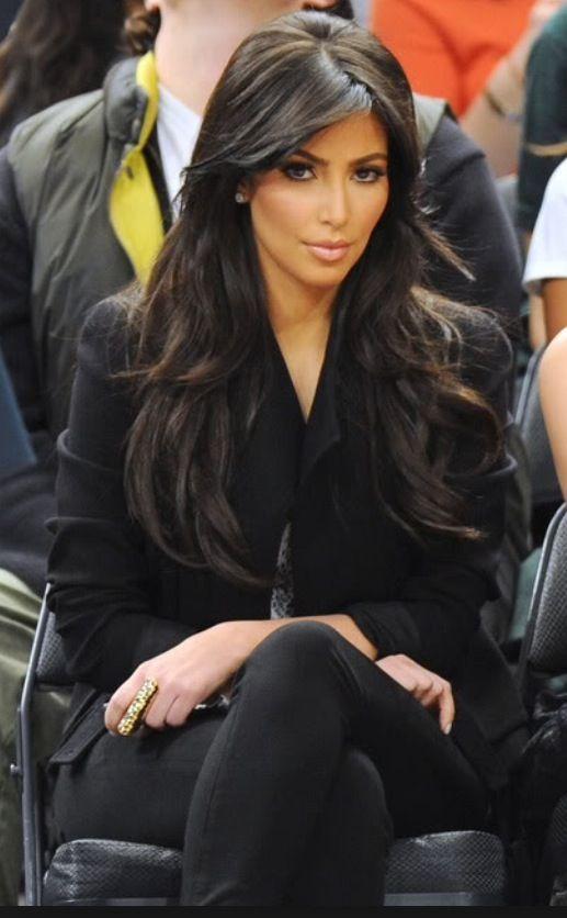 Kim Kardashian Long Layers Side Bang Long Hair Stunning