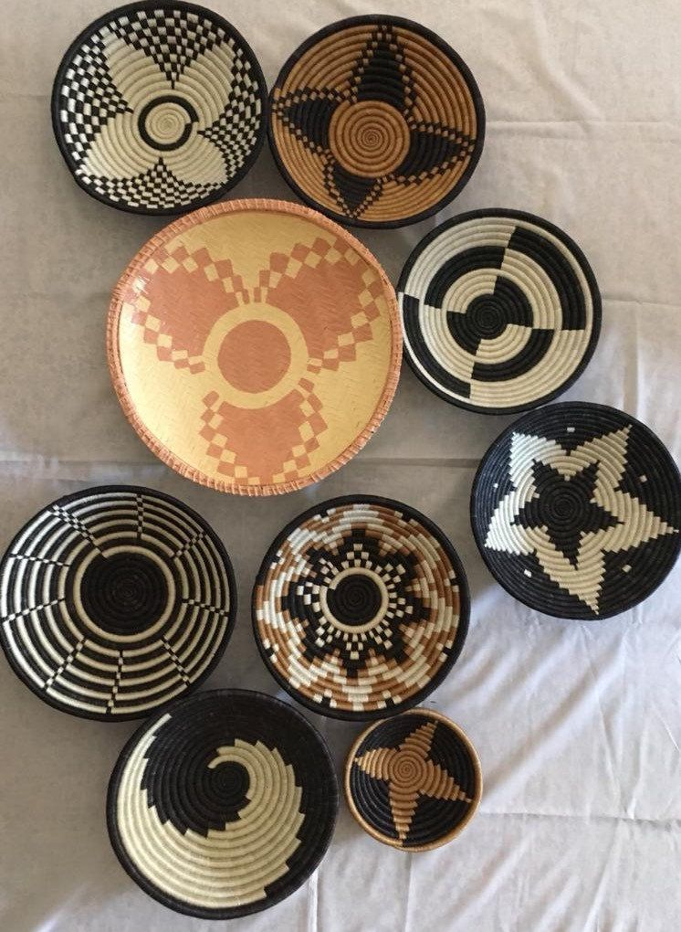 Vikapu Vizuri Set Of 9 African Baskets African Culture Decor Mama Africa Decor African Mixed Baskets African Basket Wall Decor Africa Decor Baskets On Wall