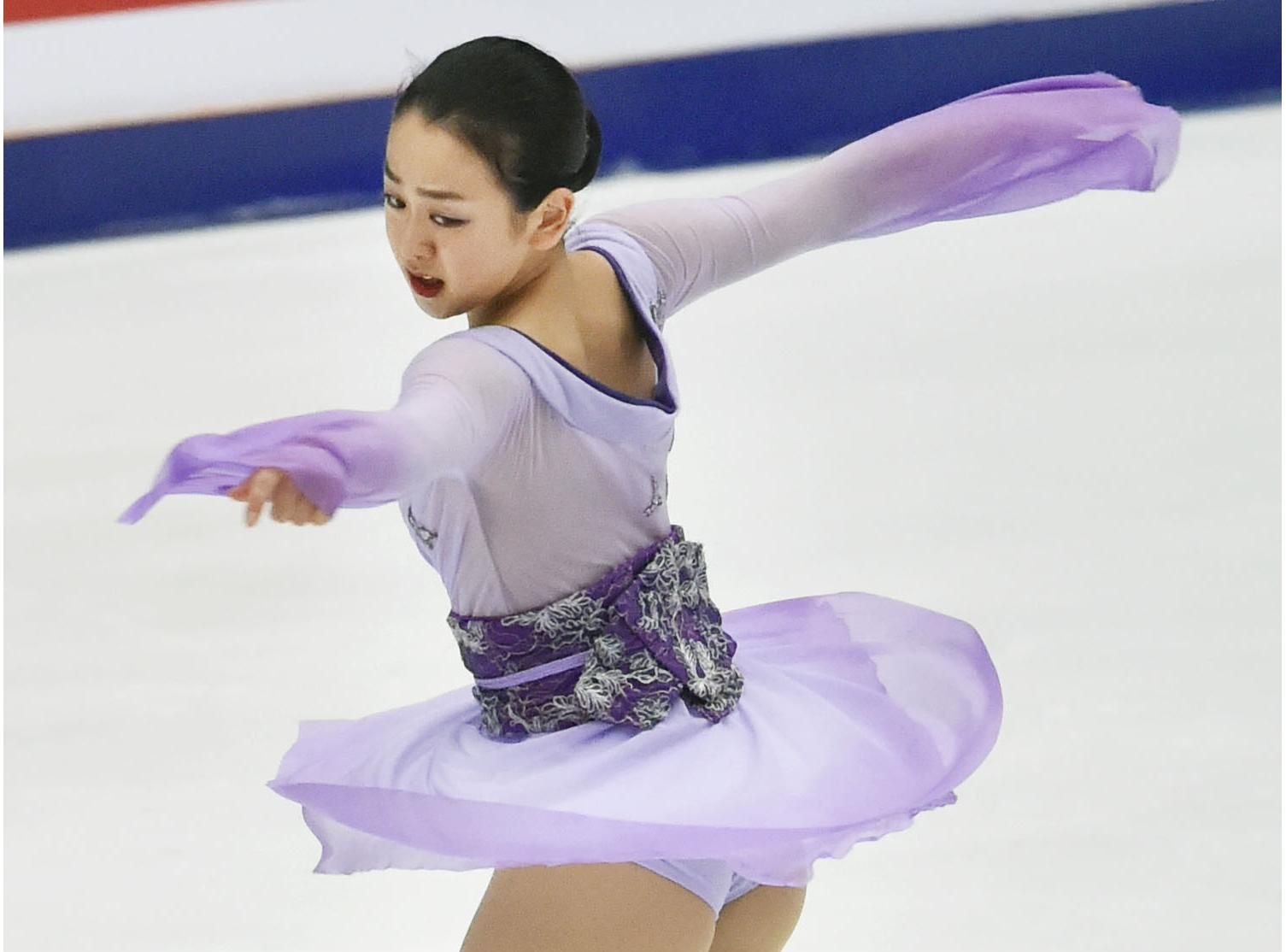 Mao Asada performs her free program at the Cup of China on Saturday in Beijing. Mao won the two-day competition with 197.48 points. | KYODO (1505×1114) http://www.japantimes.co.jp/sports/2015/11/07/figure-skating/mao-claims-cup-of-china-title-hongo-places-second/#.VkMdq9LhDMx