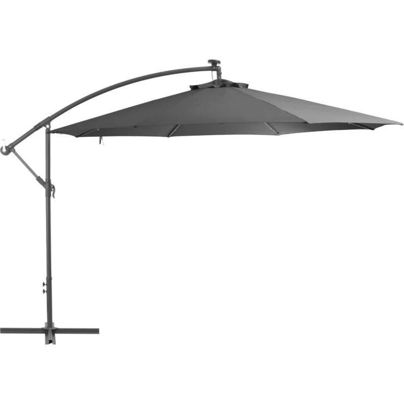 Parasol En Porte A Feux Et Poteau Metallique 350 Cm Anthracite Vidaxl Cantilever Parasol Cantilever Umbrella Patio