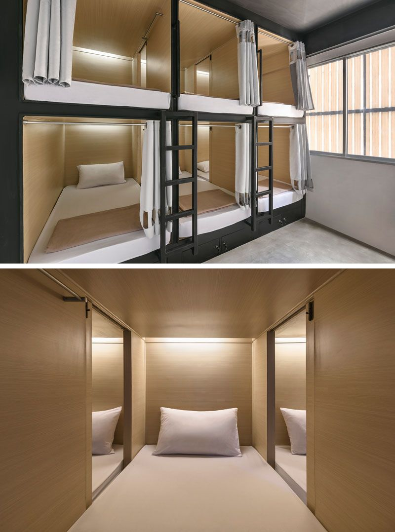 In this modern hostel in Bangkok there are pod beds where each person has their own bed with a curtain for privacy. Sliding doors allow you to easily chat ... & A New Modern Hostel Arrives In Bangkok Thailand | Sliding door ...