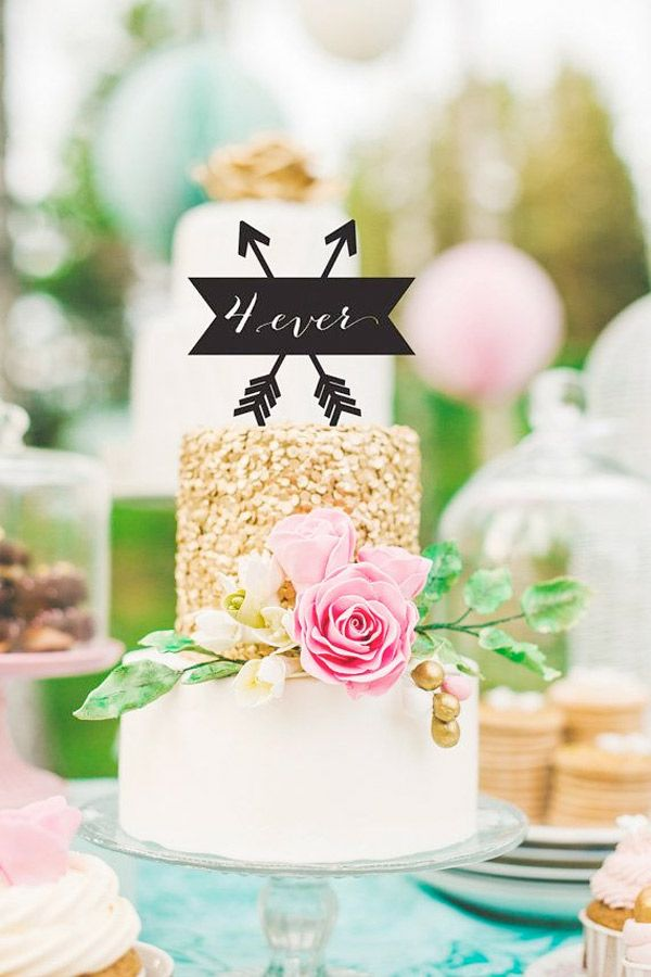 Two Tier Wedding Cake With Calligraphy Topper Brides Of