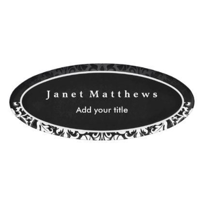 black and white damask with white trim design name tag - Name Tag Design Ideas