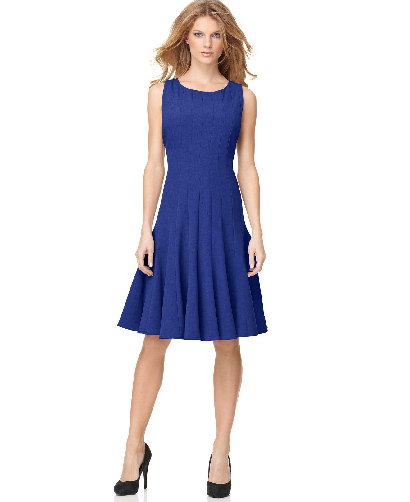 Calvin Klein Sleeveless Pleated -line Dress - Dresses