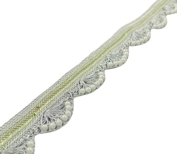 Home Decorative Silver Fringes Beaded Trim, Ribbon Curtain Fringe 3.8 Cm Edging Lace Indian Soft Trim Lace, Trim By The Yard FRT562A #curtainfringe