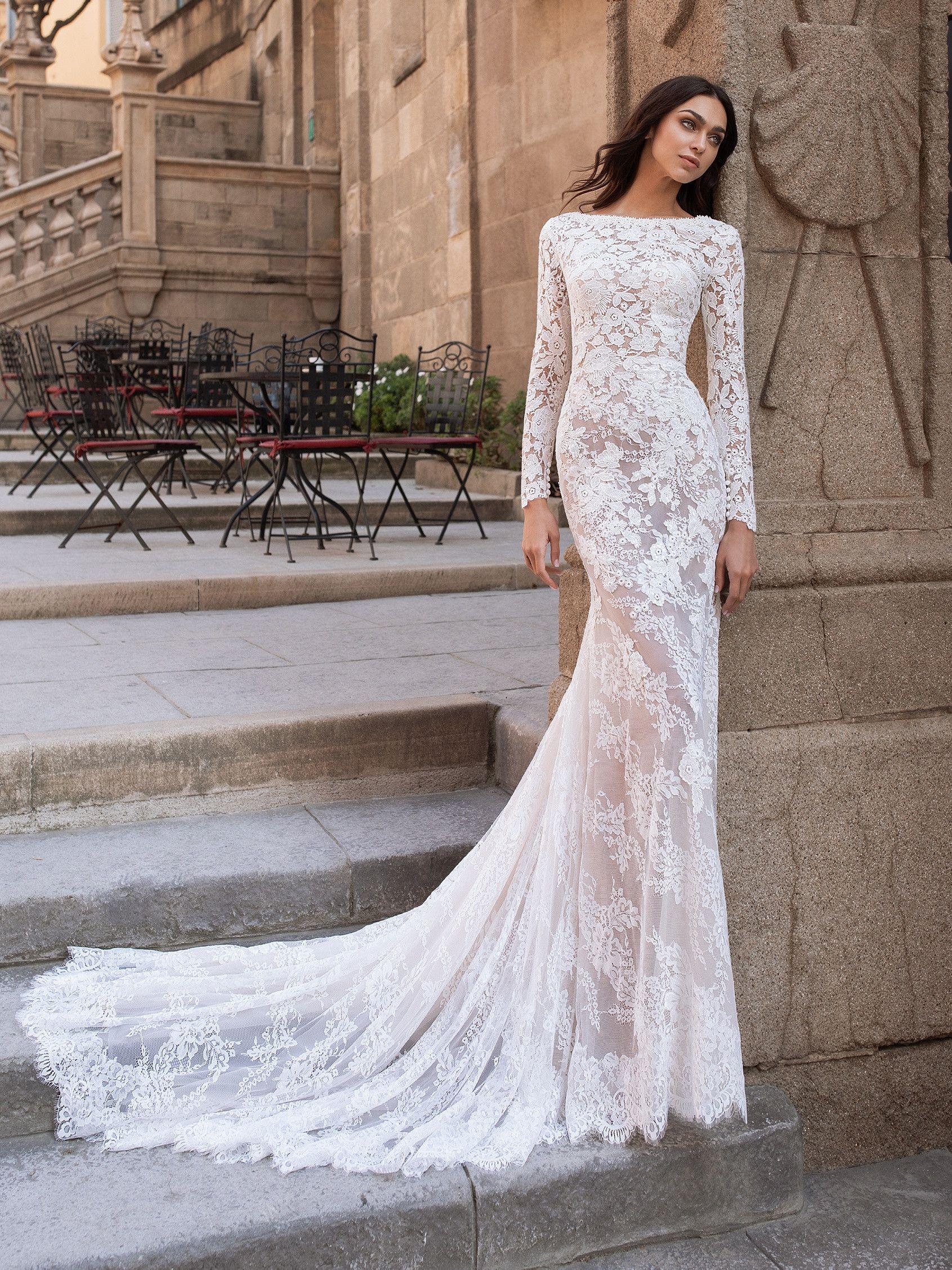 Telesto Sheath Wedding Dress Lace Expensive Wedding Dress Wedding Dresses