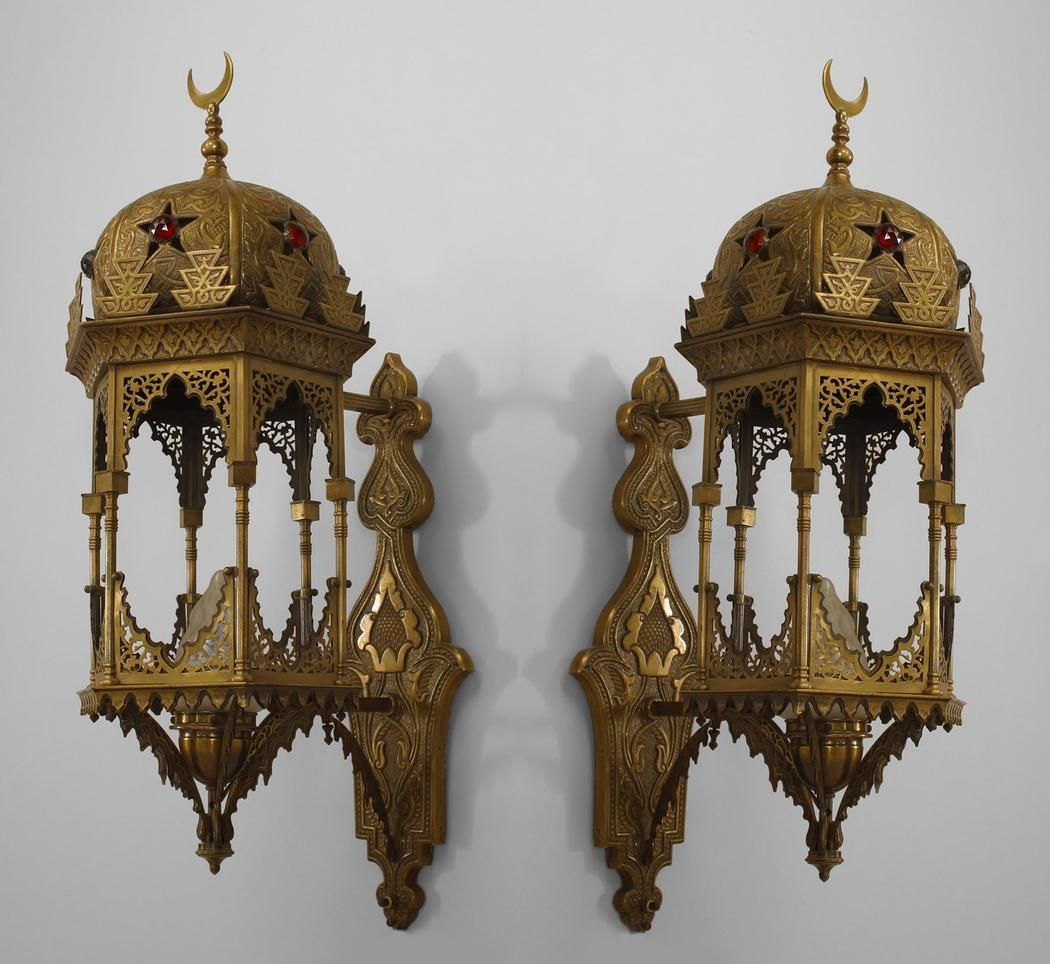 2 Pair Of Middle Eastern Moorish Style 1st 20th Cent 6 Sided