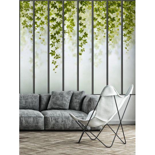 Panoramic Wallpaper Wide Loft Windows And Virginia Creeper